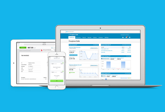 Xero accounting system running on a laptop, tablet and phone