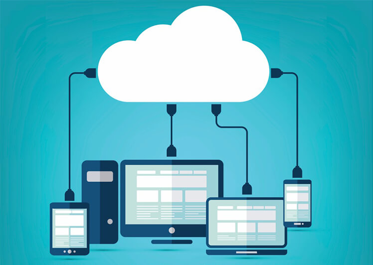 Multiple pieces of technology plugged into the cloud